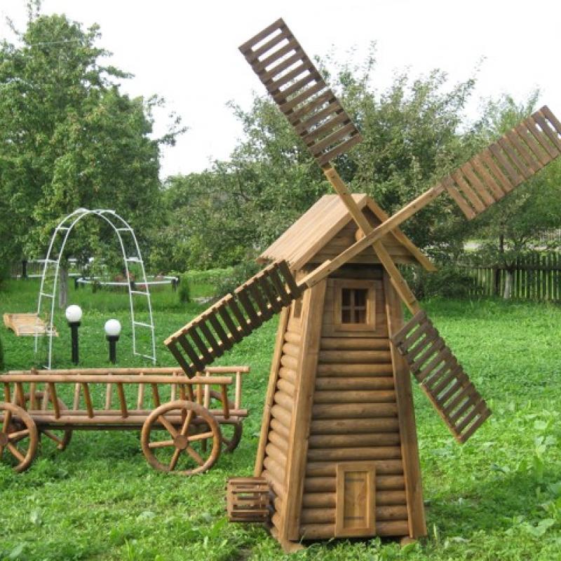Мельница деревянная для сада своими руками