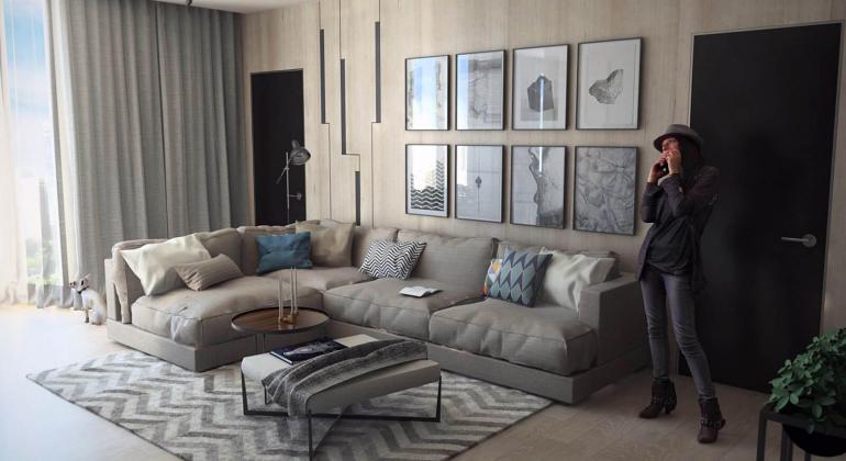 Проект 4-х комнатной квартиры по ул. Прывабная