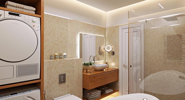 Дизайн интерьера ванной в квартире для молодой семьи