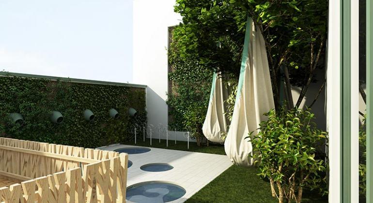 Проект террасы при домашнем зелёном детском саде