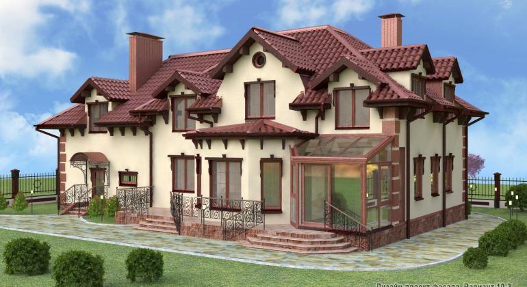 3D визуализация фасада коттеджа