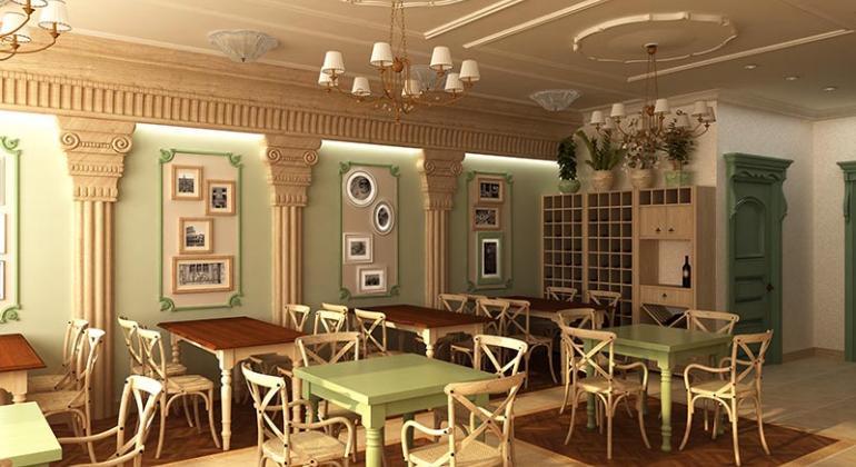 Дизайн-проект и визуализация ресторана Nonna Italia в Дубаи