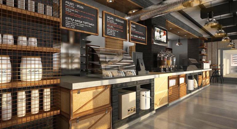 Дизайн-проект и визуализация Shawarma Factory в Дубаи